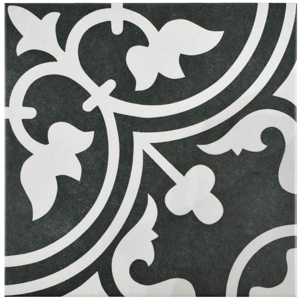 Arte Black Encaustic 9-3/4 in. x 9-3/4 in. Porcelain Floor and