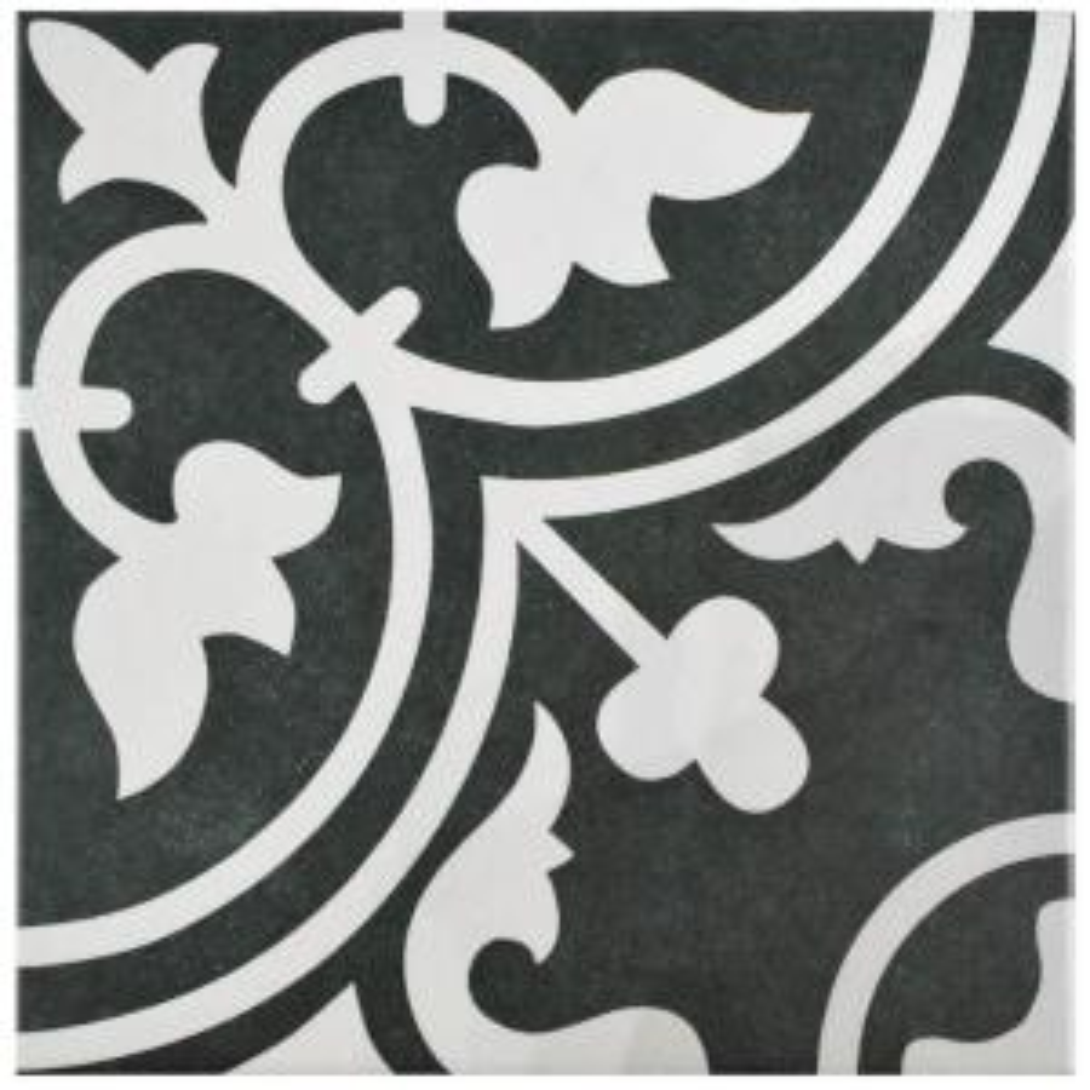 Merola Tile Arte Black 9 3 4 In X 9 3 4 In Porcelain