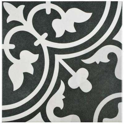 Arte Black 9-3/4 in. x 9-3/4 in. Porcelain Floor and Wall Tile (10.76 sq. ft. / case)