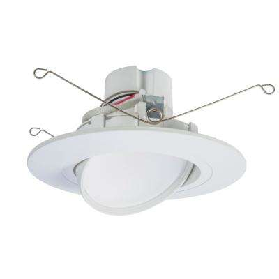 RA 5 and 6 in. White Integrated LED Recessed Light Adjustable Gimbal Retrofit Trim with Selectable CCT (2700K-5000K)