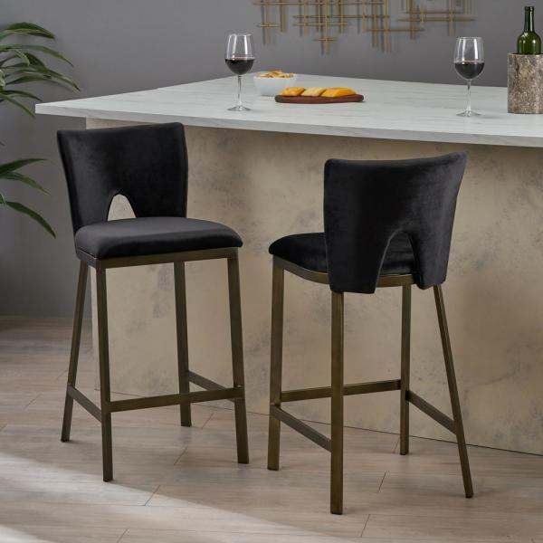Whittier 26 in. Antique Brass and Deep Black Counterstool (Set of 2)