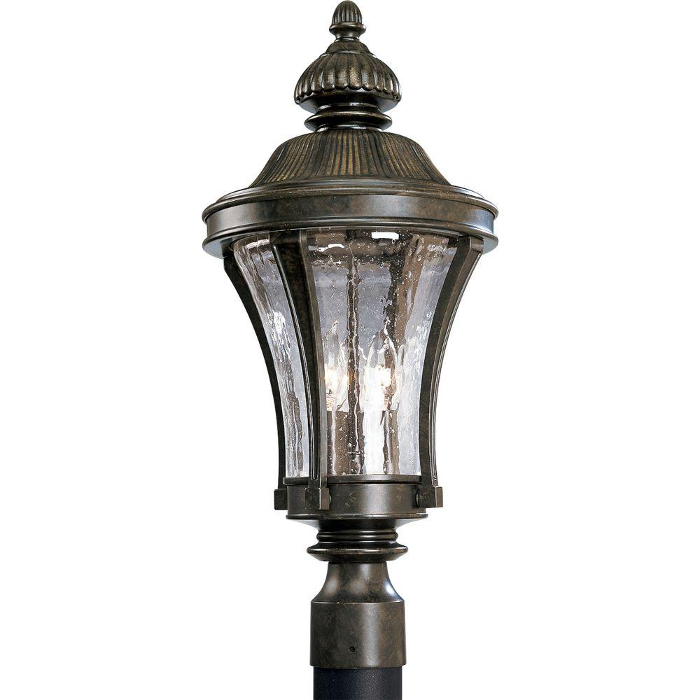 Progress Lighting Nottington Collection 3-Light Forged Bronze Outdoor Post Lantern