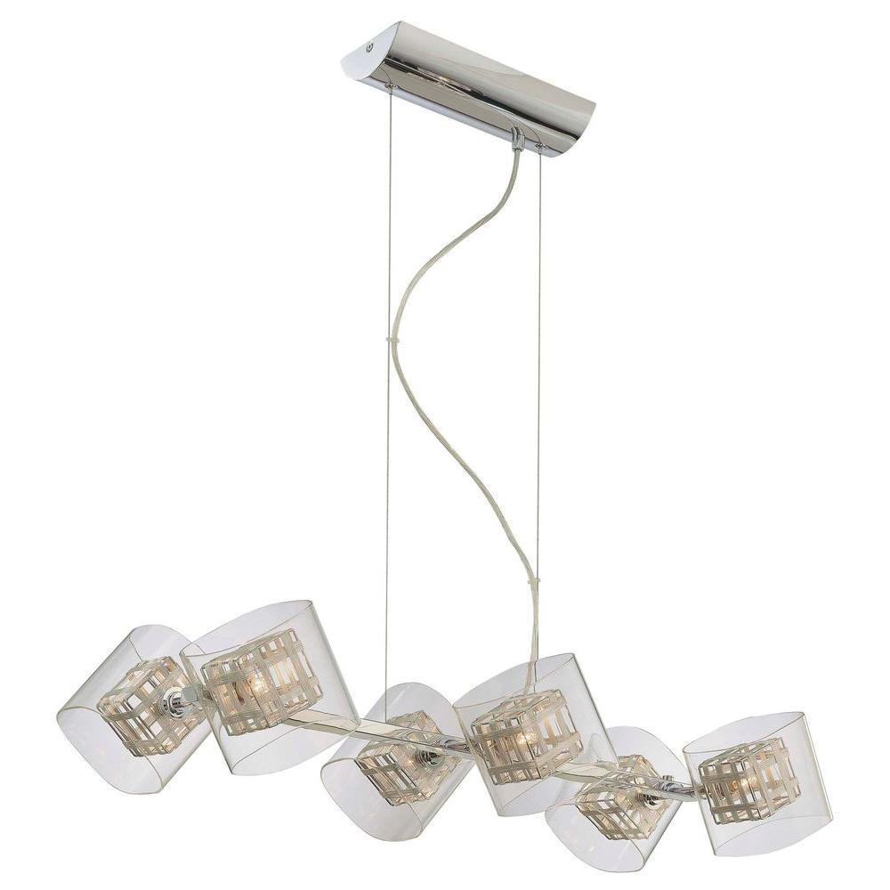 George Kovacs Jewel Box 6 Light Chrome Chandelier With Clear Shade