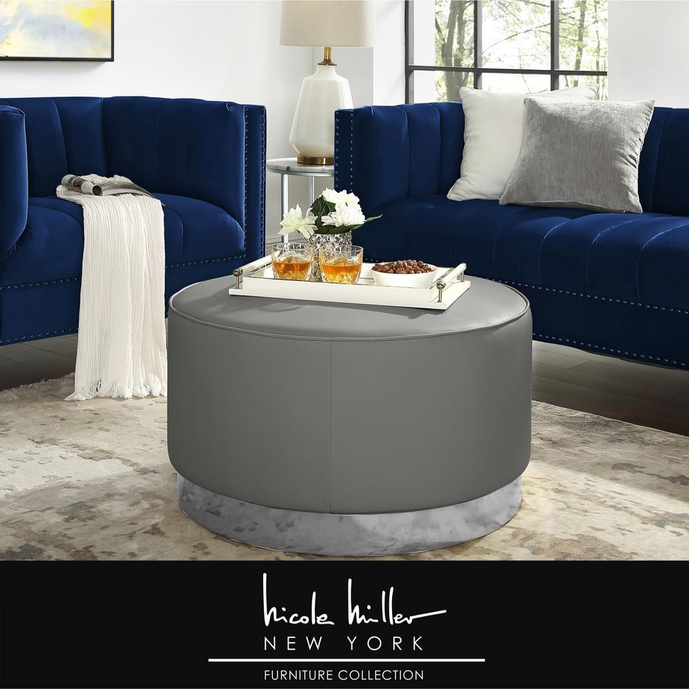 Peachy Nicole Miller Matsuori Grey Chrome Pu Leather Cocktail Cjindustries Chair Design For Home Cjindustriesco