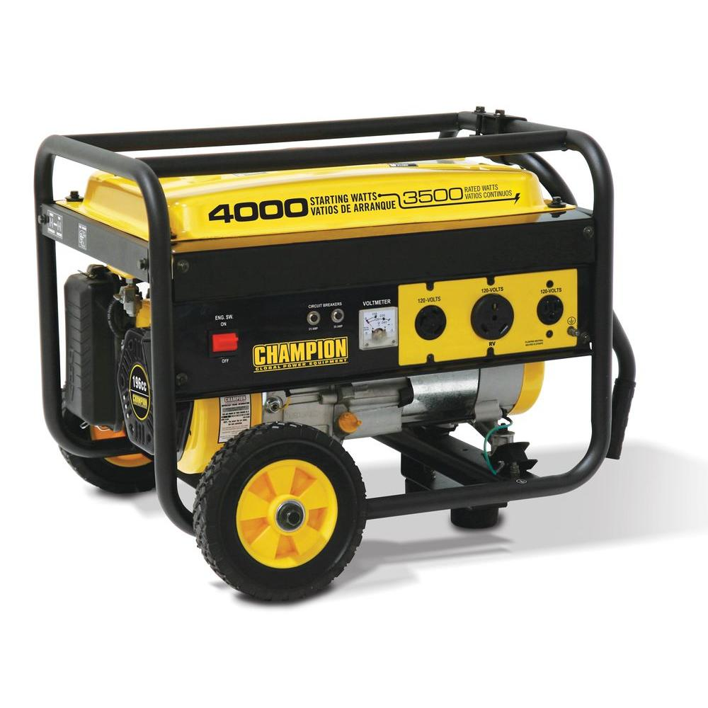 Champion Power Equipment 3,500/4,000-Watt Gasoline Powered Portable Generator with Wheel Kit-DISCONTINUED