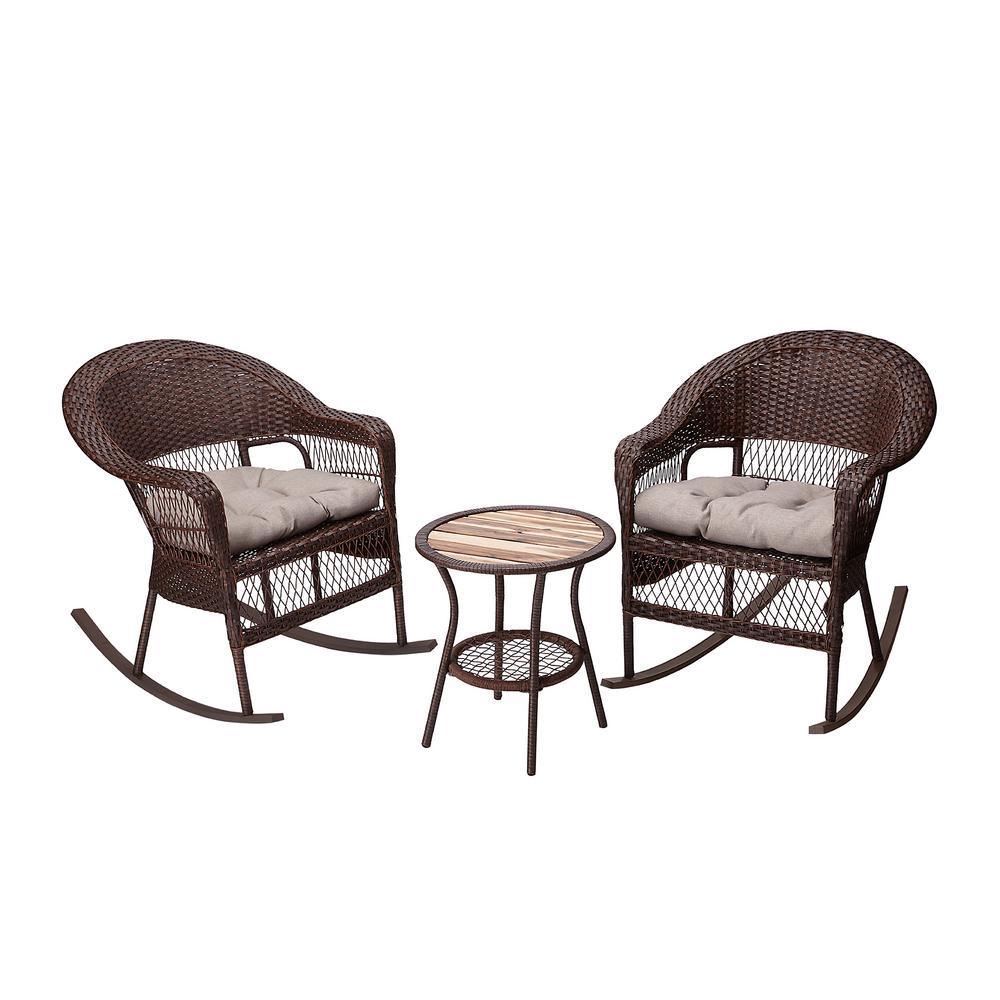 3-Piece Wicker Outdoor Rocking Chairs Bistro Set with Beige Cushions