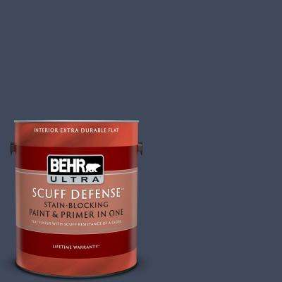 1 gal. #S530-7 Dark Navy Extra Durable Flat Interior Paint and Primer in One