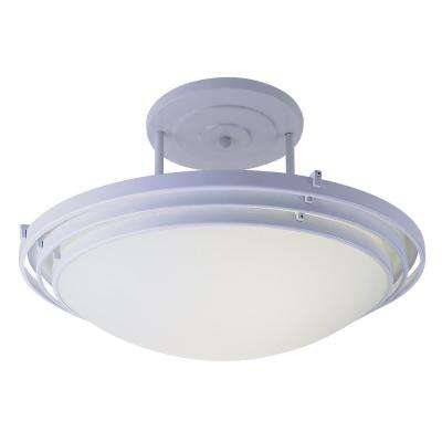 2-Light White Semi-Flushmount Light