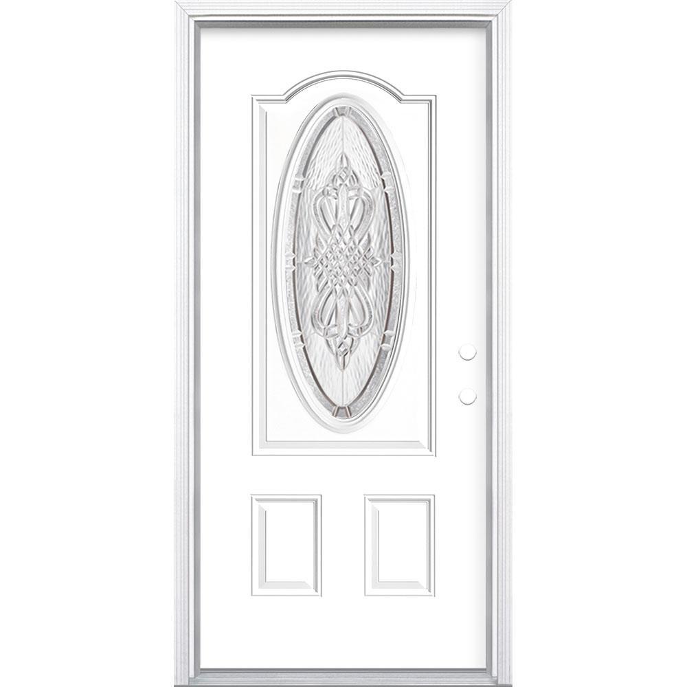 36 in. x 80 in. New Haven 3/4 Oval Lite Left Hand Inswing Painted Steel Prehung Front Exterior Door with Brickmold
