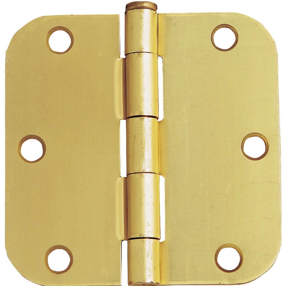Design House 3-1/2 in. x 5/8 in. Radius Satin Brass Door Hinge Value Pack (3 per Pack)