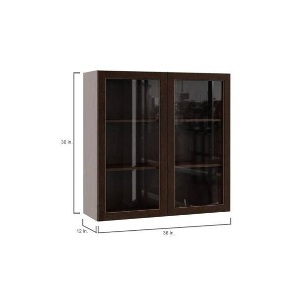 Hampton Bay Designer Series Gretna Assembled 36x36x12 In Wall Kitchen Cabinet With Glass Doors In Espresso Wgd3636 Gres The Home Depot