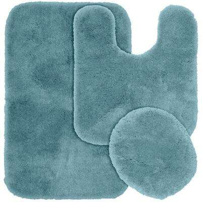 Finest Luxury Basin Blue 21 in. x 34 in. Washable Bathroom 3-Piece Rug Set
