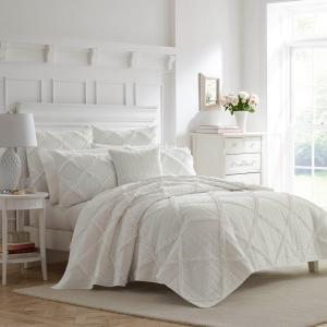 Maisy 3-Piece White Solid Cotton King Quilt Set