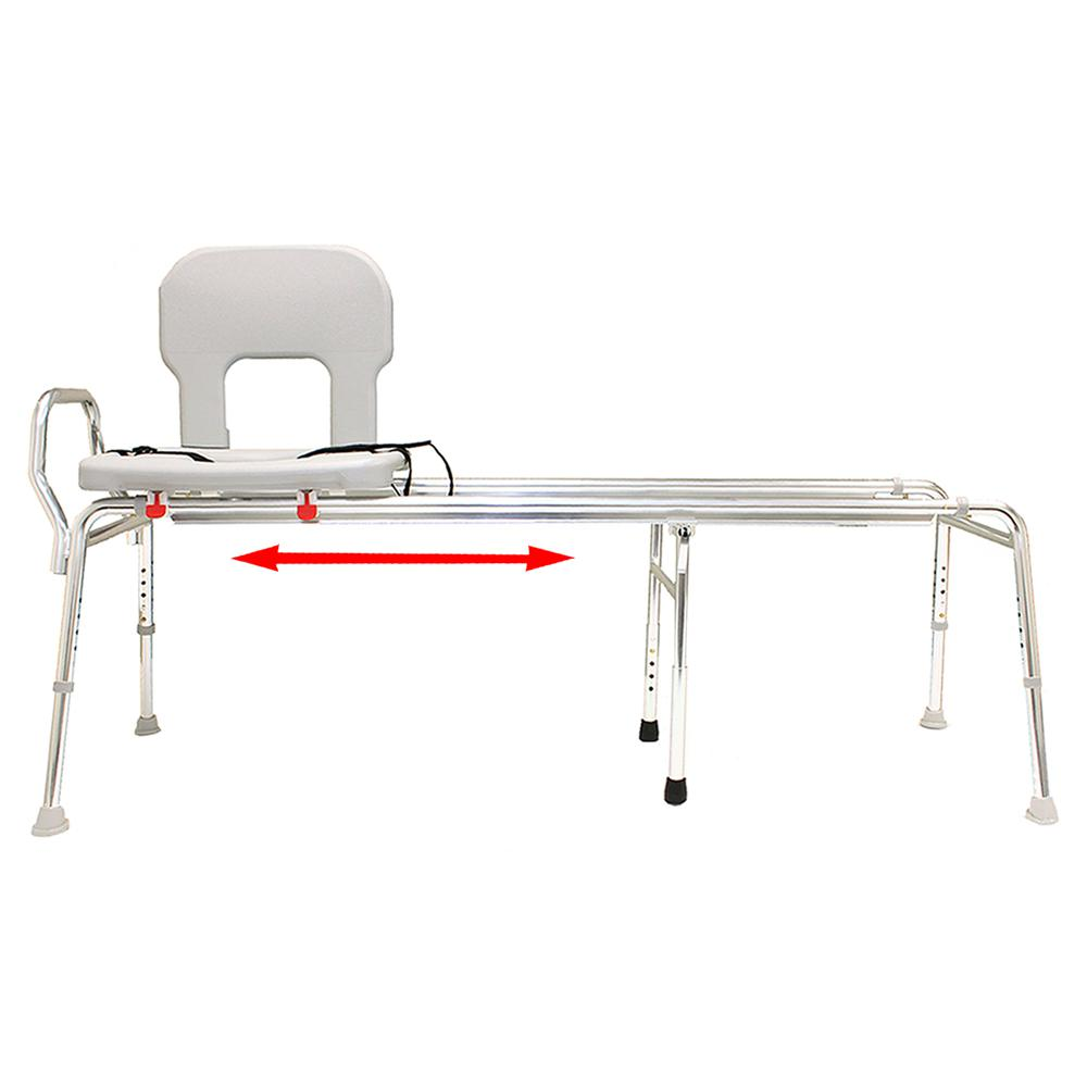 Toilet-to-Tub Sliding Transfer Bench - Long (Base Length: 53.5 in ...