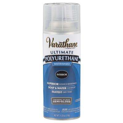 11.25 oz. Clear Semi-Gloss Water-Based Interior Polyurethane Spray Paint