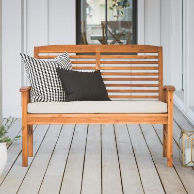 Boardwalk 48 in. Brown Acacia Wood Outdoor Loveseat Bench with Cream Cushions