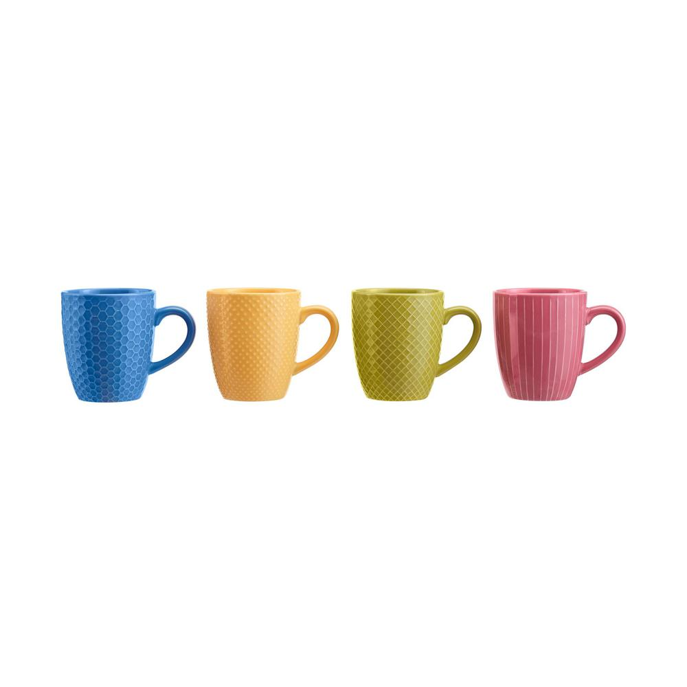StyleWell 13.5 fl. oz. Textured Mix & Match Color Stoneware Mug Set (Service for 4), Sail Blue/Sunrise/Fuchsia was $19.98 now $9.99 (50.0% off)
