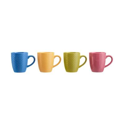 StyleWell 13.5 fl. oz. Textured Mix & Match Color Stoneware Mug Set (Service for 4)