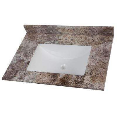31 in. W x 22 in. D Stone Effects Vanity Top in Avalon with White Sink