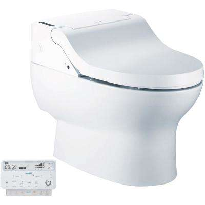 Fully integrated Elongated Luxury Toilet with Bidet Functions in White