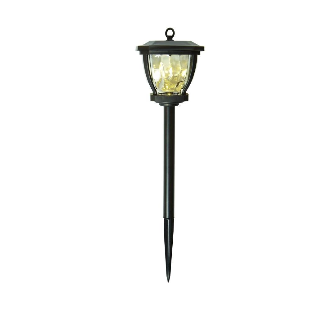 Hampton Bay Solar Bronze Outdoor Integrated Led Square Landscape Path Light With Water Gl Patterned Lens