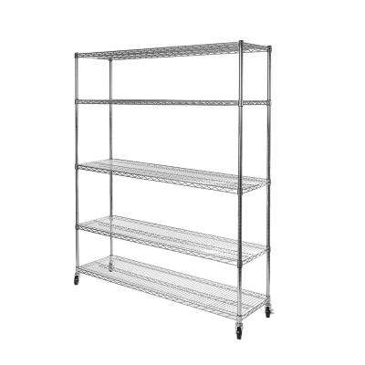 60 in W x 24 in D x 72 in H 5-Tier UltraDurable NSF Steel Wire Shelving with Wheels