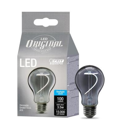 25-Watt Equivalent A19 Dimmable LED Smoke Glass Vintage Edison Light Bulb With Curve Filament Daylight