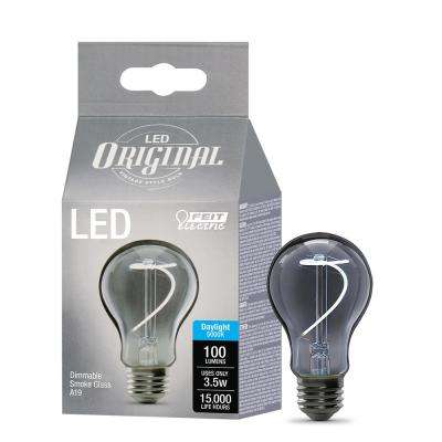 40W Equivalent A19 Dimmable LED Smoke Glass Vintage Edison Light Bulb With Curve Filament Daylight