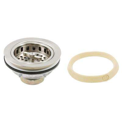 Stainless Steel Basket Strainer Spin fits 3-1/2 in. to 4 in. Satin Nickel with Putty
