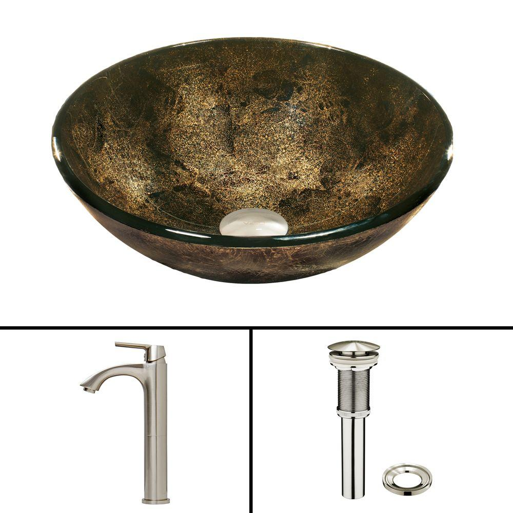 VIGO Glass Vessel Sink in Sintra and Linus Faucet Set in Brushed Nickel