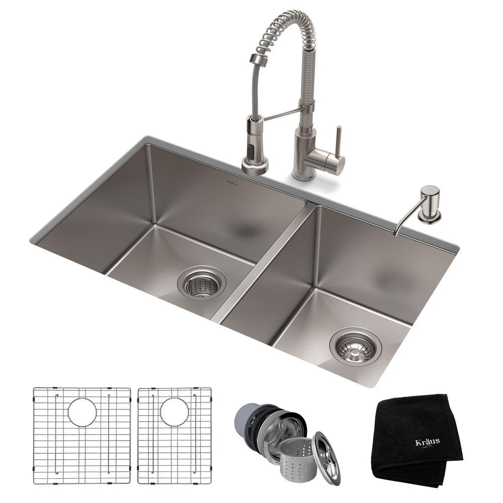 KRAUS Standart PRO All-in-One Undermount Stainless Steel 33 in. Double Bowl  Kitchen Sink with Faucet in Stainless Steel