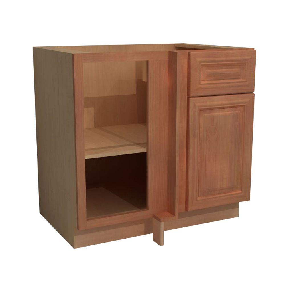 Home Decorators Collection Dartmouth Assembled 36x34.5x24 in. Single Door & Drawer Hinge Left Base Kitchen Blind Corner Cabinet in Cinnamon