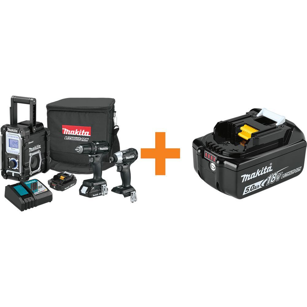 18-Volt 3-Piece 2.0 Ah LXT Sub-Compact Brushless Combo Kit with bonus 18-Volt LXT Battery Pack 5.0 Ah with Fuel Gauge