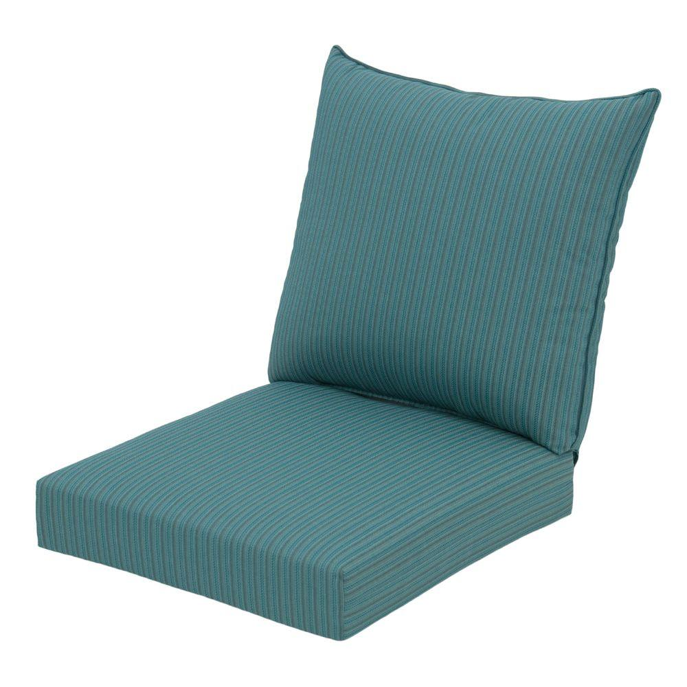 Hampton Bay Mediterranean Stripe Rapid-Dry Deluxe 2-Piece Outdoor Deep Seating Cushion