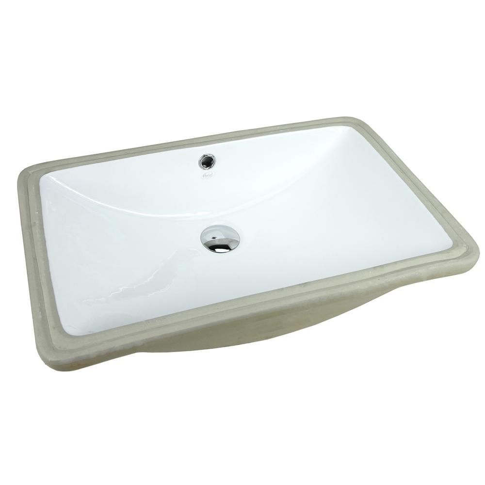 24 in. x 15-1/2 in. Rectrangle Undermount Vitreous Glazed Ceramic Lavatory