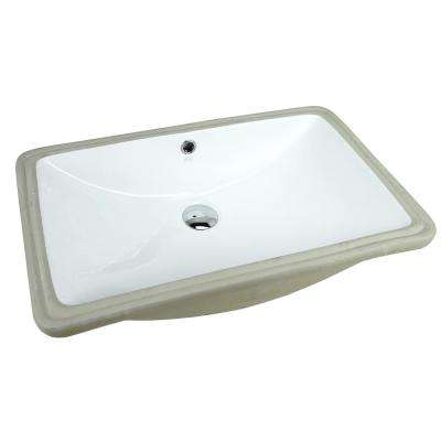 24 in. x 15-1/2 in. Rectrangle Undermount Vitreous Glazed Ceramic Lavatory Vanity Bathroom Sink Pure White