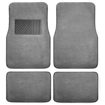 Gray Durable 4-Pieces 28 in. x 18 in. Carpet Car Floor Mats