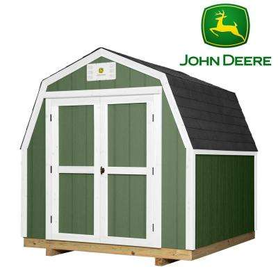 8 ft. x 8 ft. Backyard Discovery Heavy Duty John Deere Prefab Wood Storage Shed with Upgraded Floor, Entry and Threshold