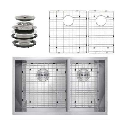 Handcrafted All-in-One Undermount Stainless Steel 33 in. x 22 in. x 9 in. Double Bowl Kitchen Sink with Grid and Drain