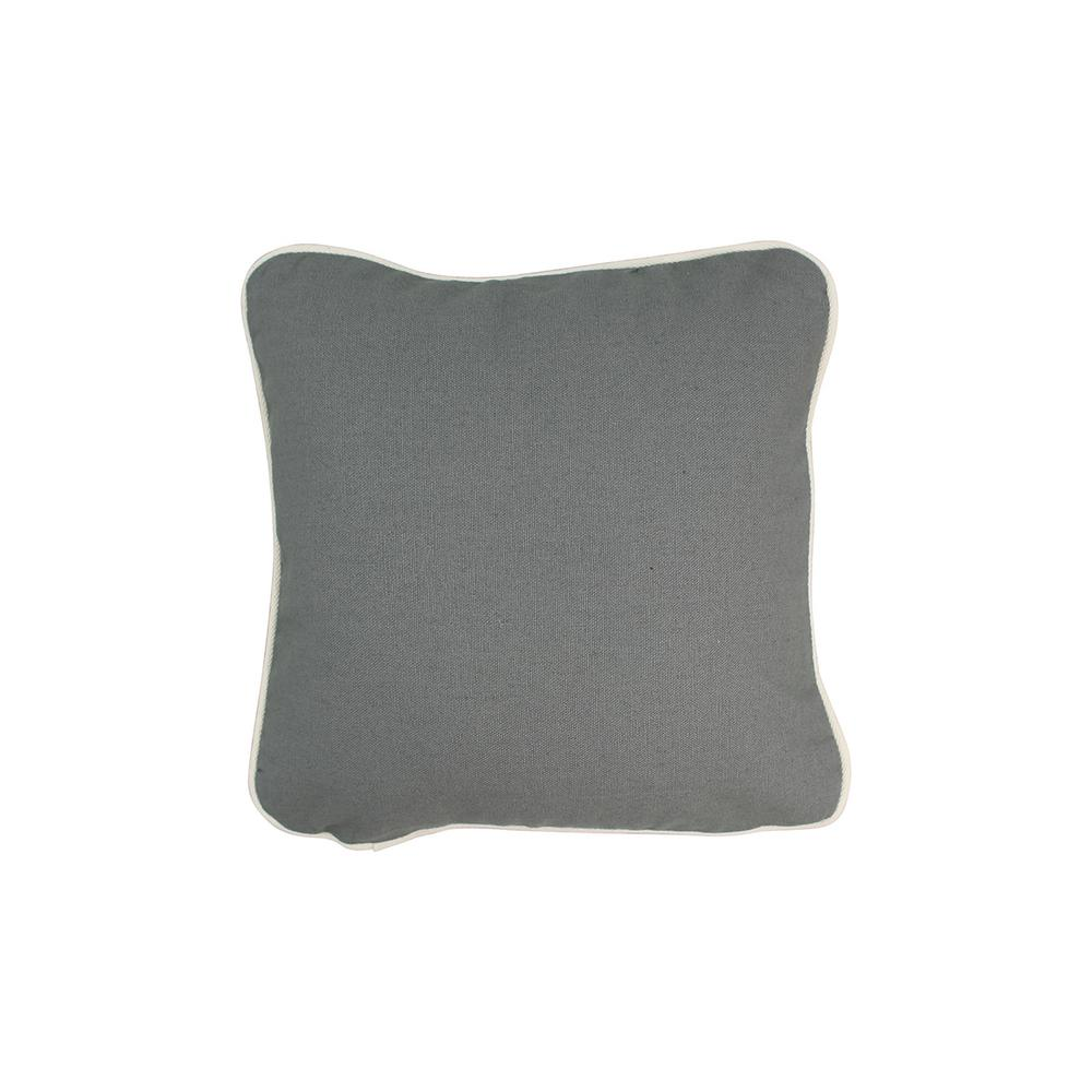 12 in. x 12 in. Gray Standard Pillow with Green Eco