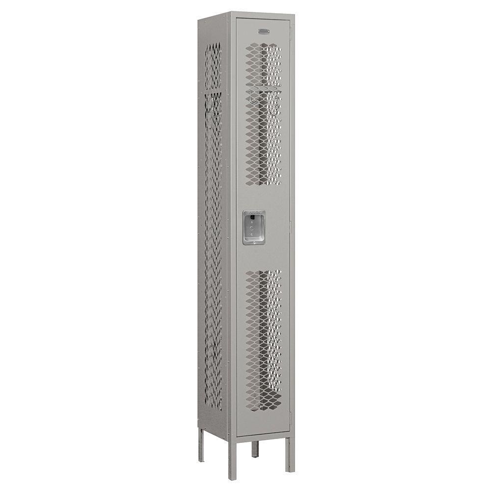 71000 Series 12 in. W x 78 in. H x 12 in. D Single Tier Vented Metal Locker Unassembled in Gray
