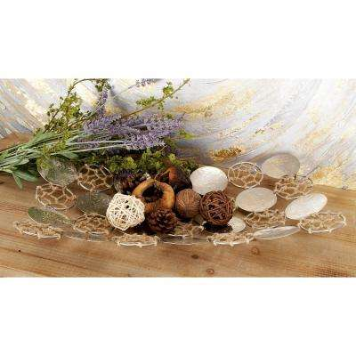 Silver Stainless Steel and Brown Jute Medallion Rectangular Decorative Platters (Set of 2)