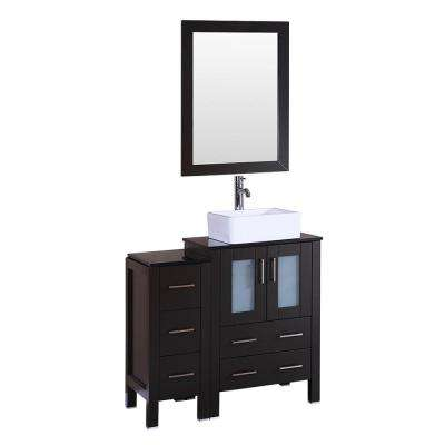 36 in. W Single Bath Vanity with Tempered Glass Vanity Top in Black with White Basin and Mirror