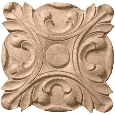 5/8 in. x 4-1/4 in. x 4-1/4 in. Unfinished Wood Cherry Acanthus Rosette