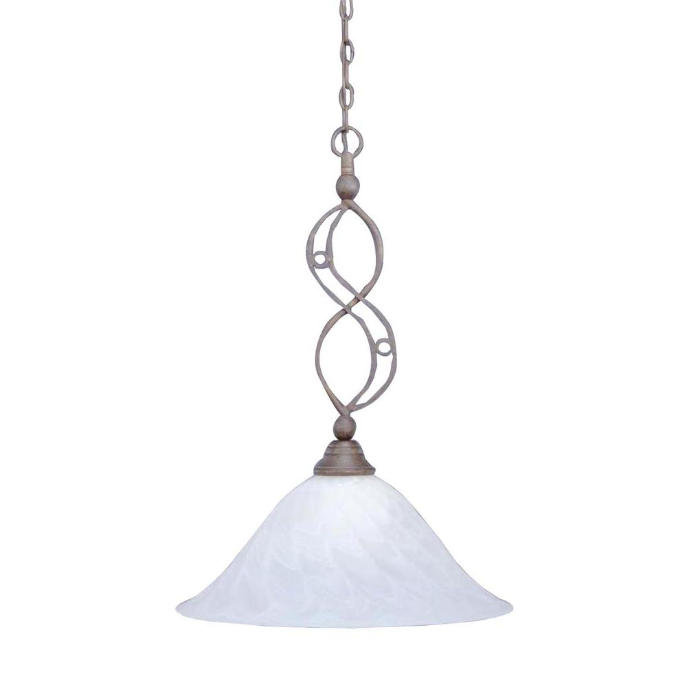Concord 1-Light Bronze Pendant with Swirl Glass