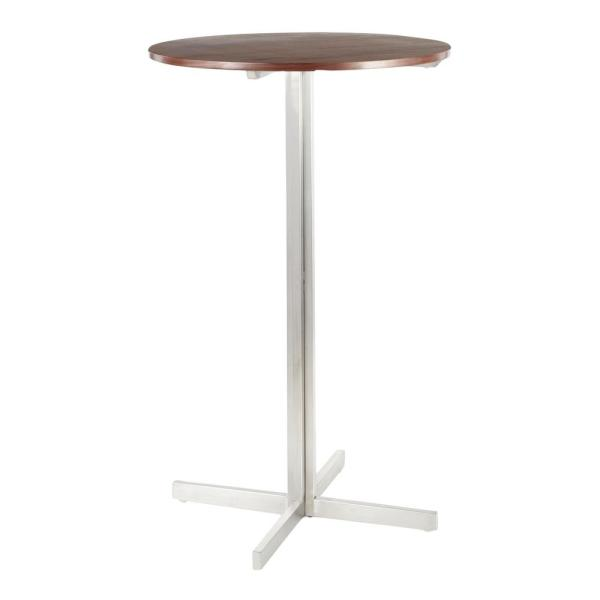 Fuji Stainless Steel Round Bar Table with Walnut Wood Top