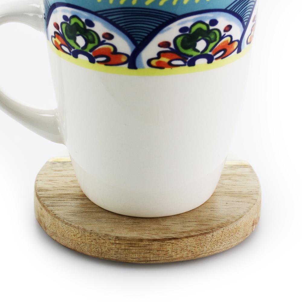 Ceramic Coaster Set with Metal Stand Farm Animals Design.