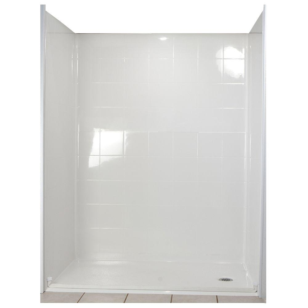 Ella Standard 31 in. x 60 in. x 77-1/2 in. 5-piece Barrier Free Roll In Shower System in White with Right Drain