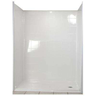 Standard 33-4/12 in. x 60 in. x 77-1/2 in. 5-piece Barrier Free Roll In Shower System in White with Right Drain