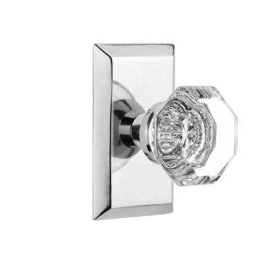 Studio Plate 2-3/8 in. Backset Bright Chrome Privacy Bed/Bath Waldorf Door Knob